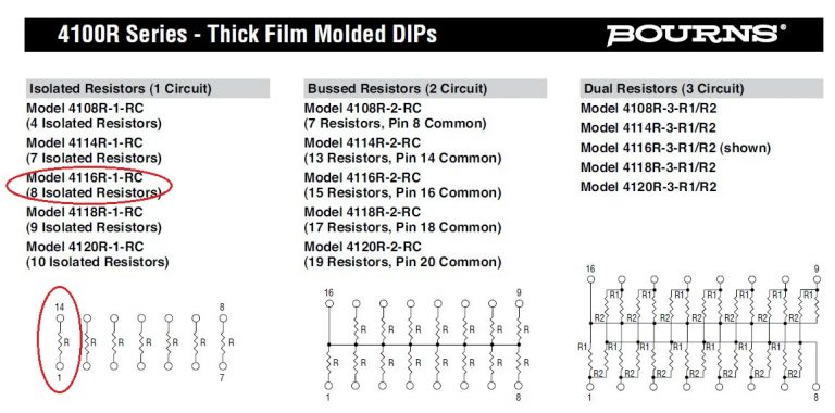 innovative 4116R 1 393 Bourns Resistor Pack DataSheet