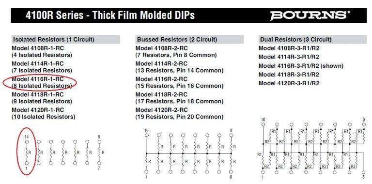 innovative 4116R 1 393 Bourns Resistor Pack DataSheet